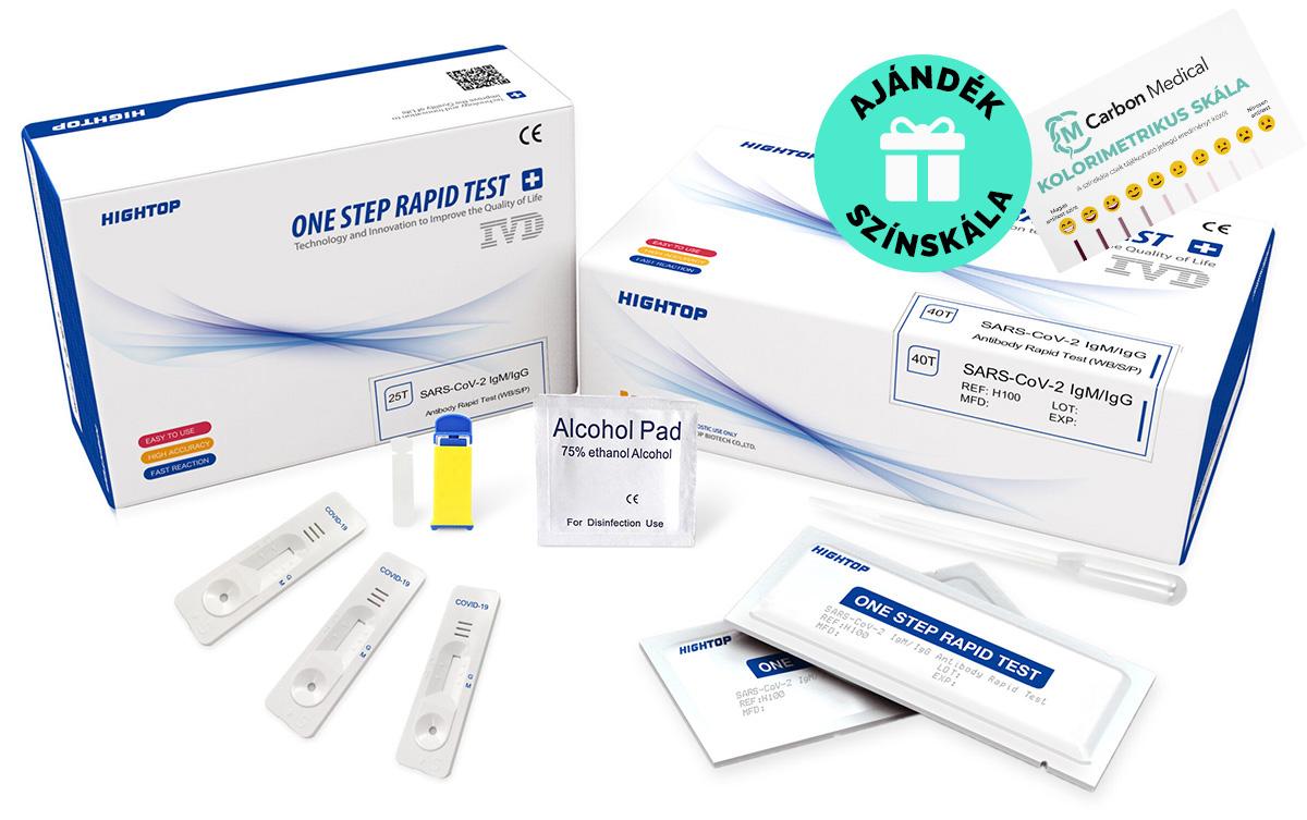 Koronavírus COVID-19 IgM/IgG antitest ellenanyag teszt 25 db Carbon Medical